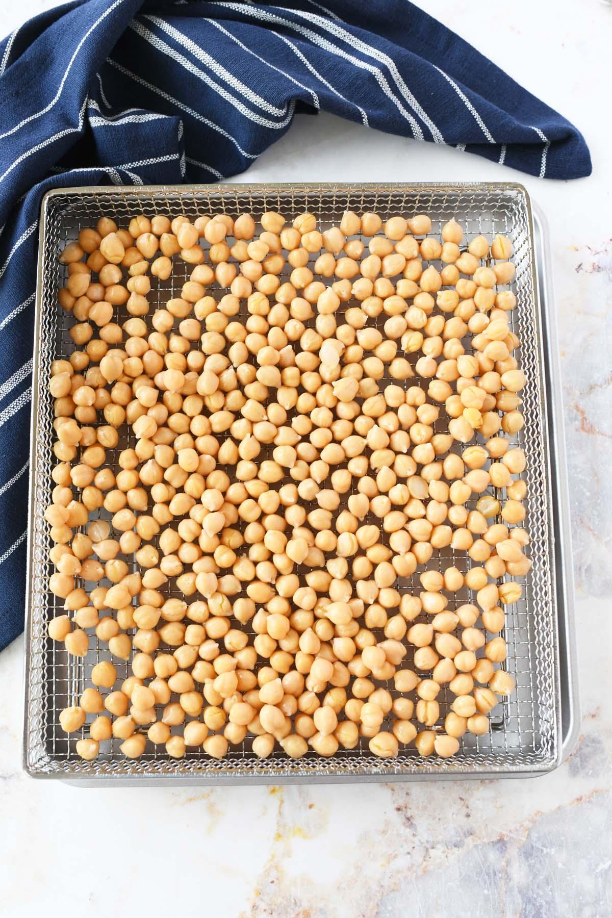Air Fried Garbanzo beans on a tray.