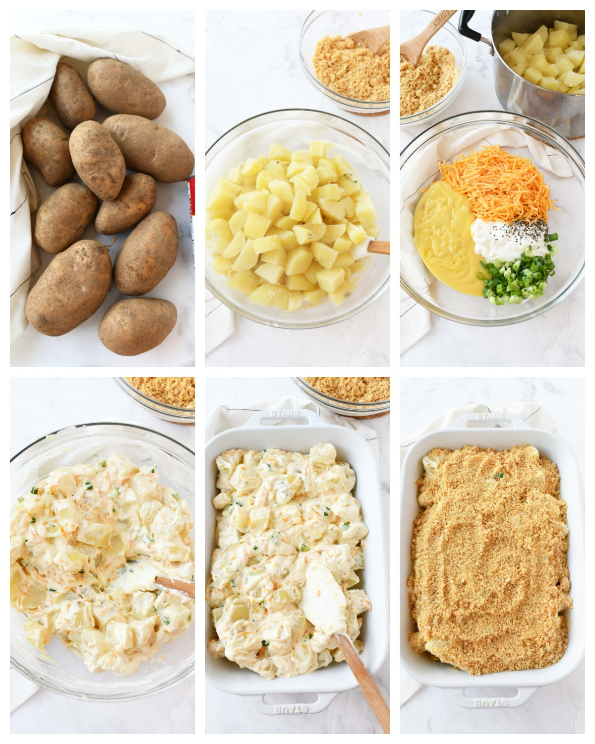 A 6 image collage showing the steps to make funeral potatoes.