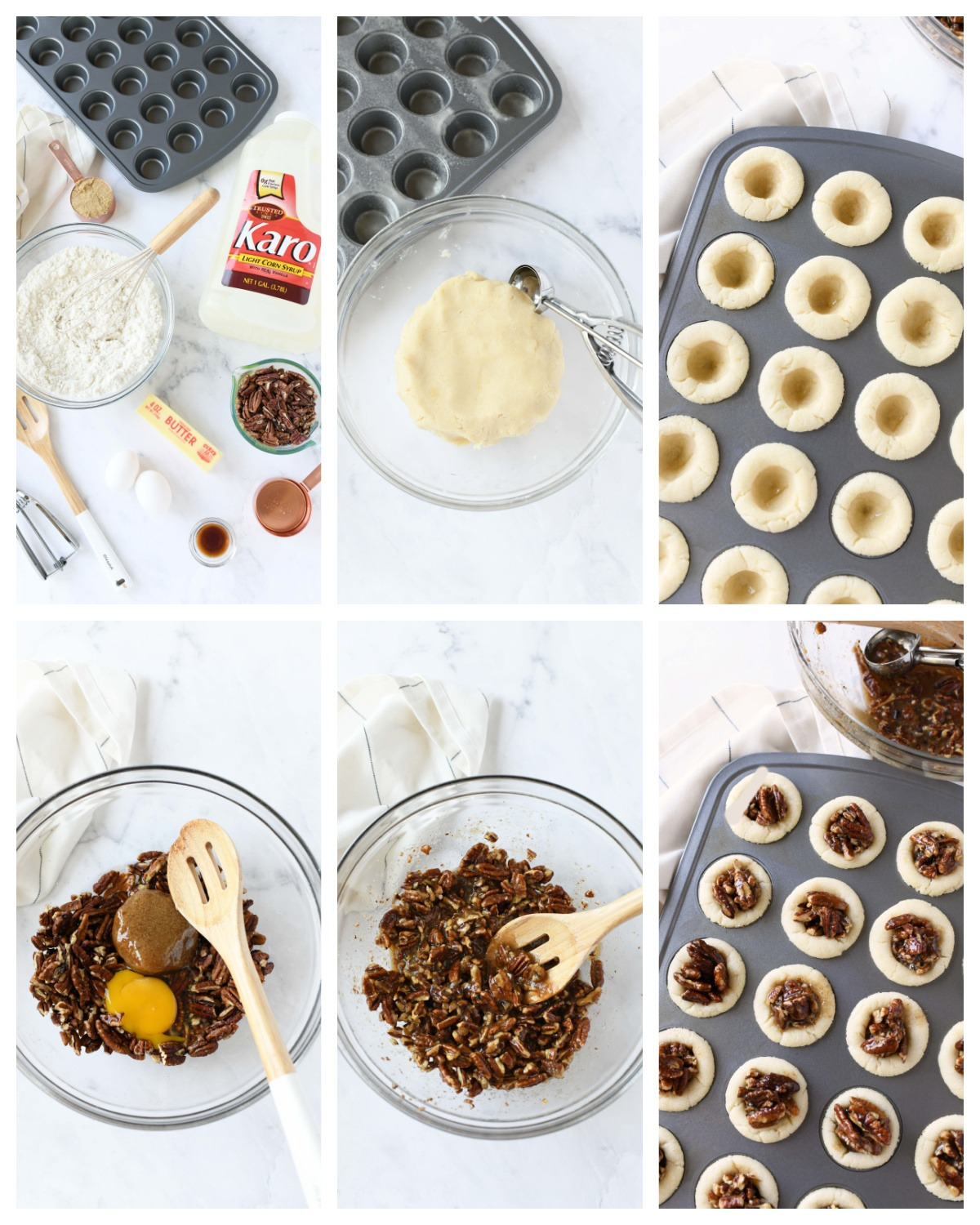 a six image collage of making pecan pie cookies.