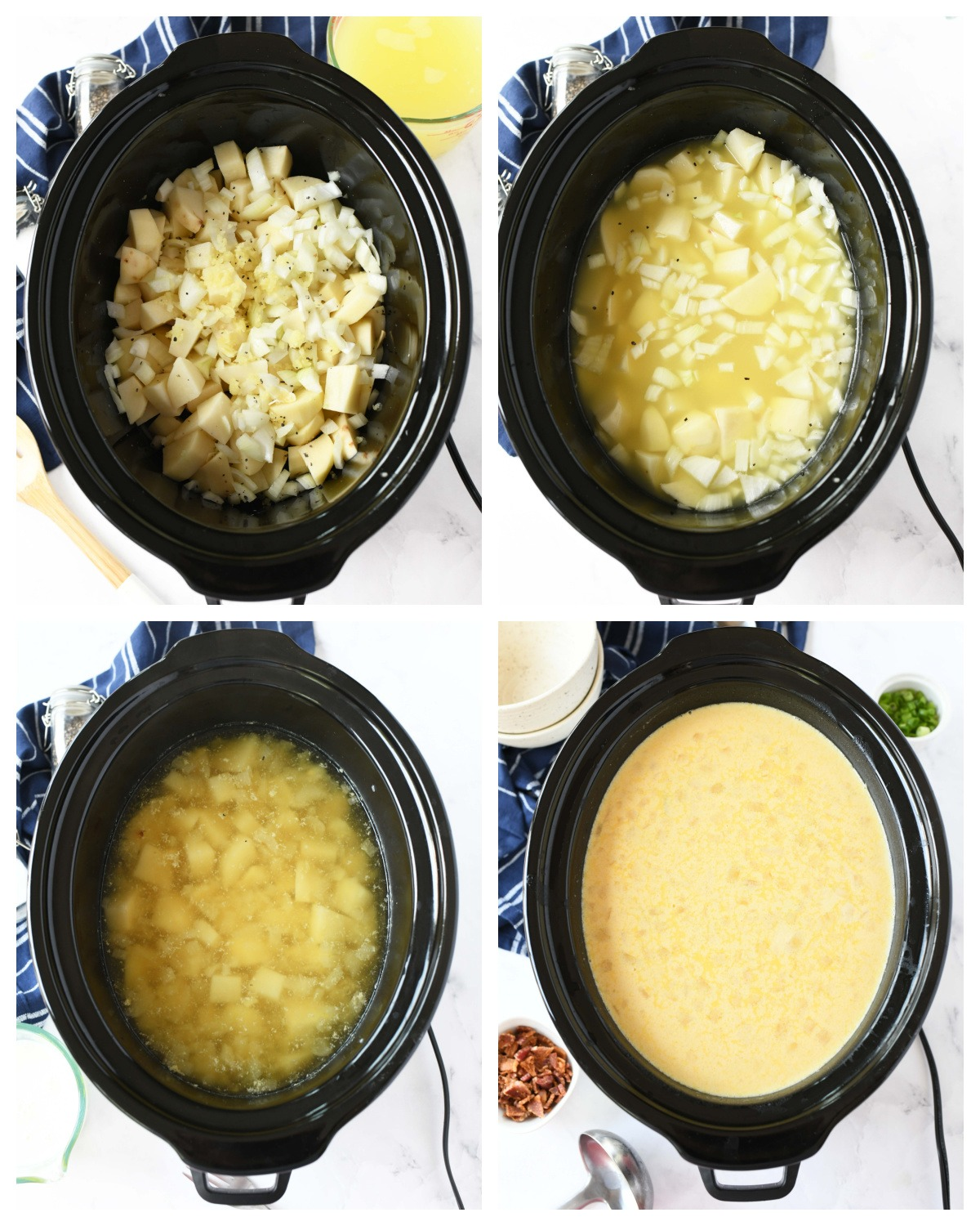 A four image collage showing how to make cheesy potato soup.
