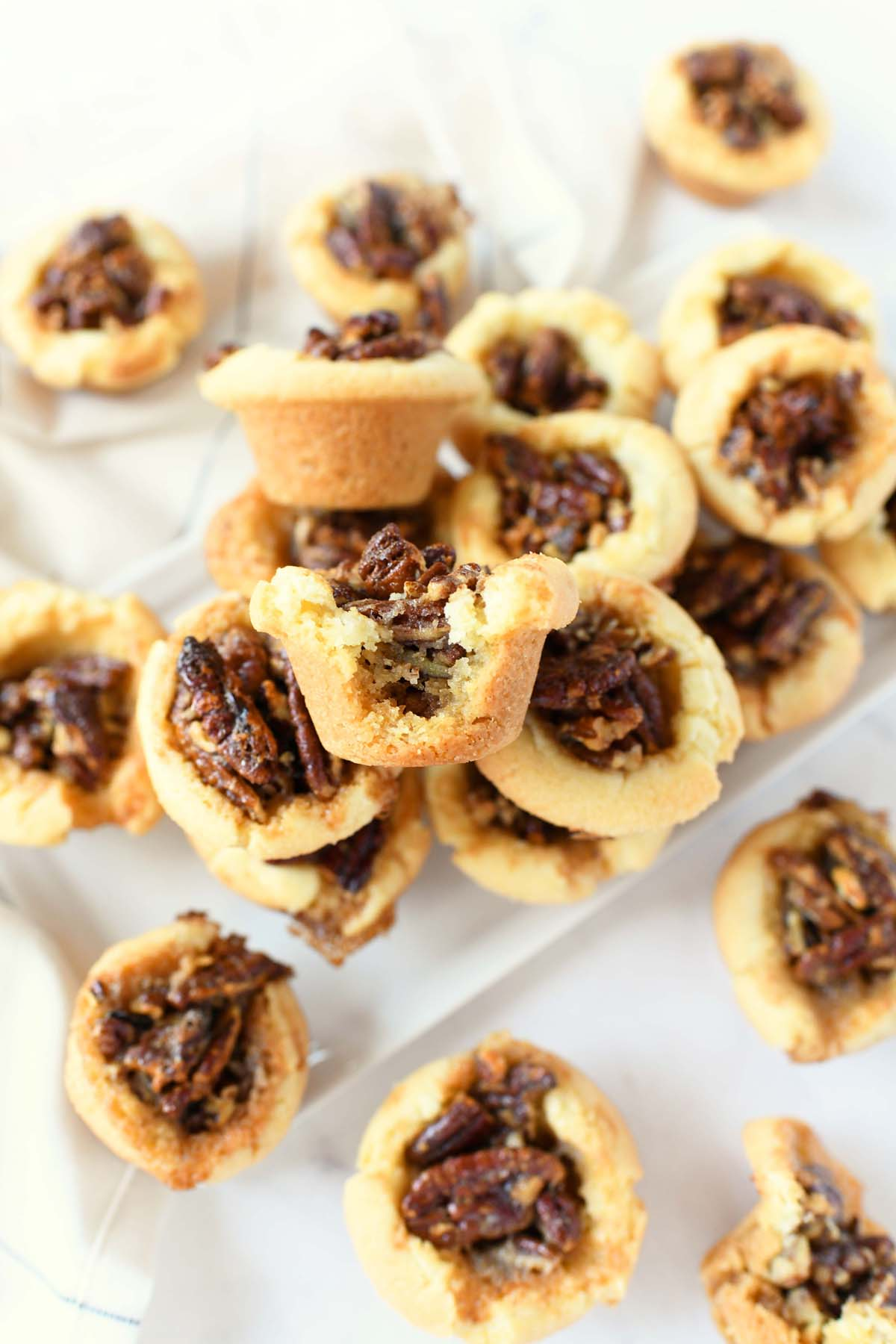 Pecan Pie Cookie Bites on a white serving tray.