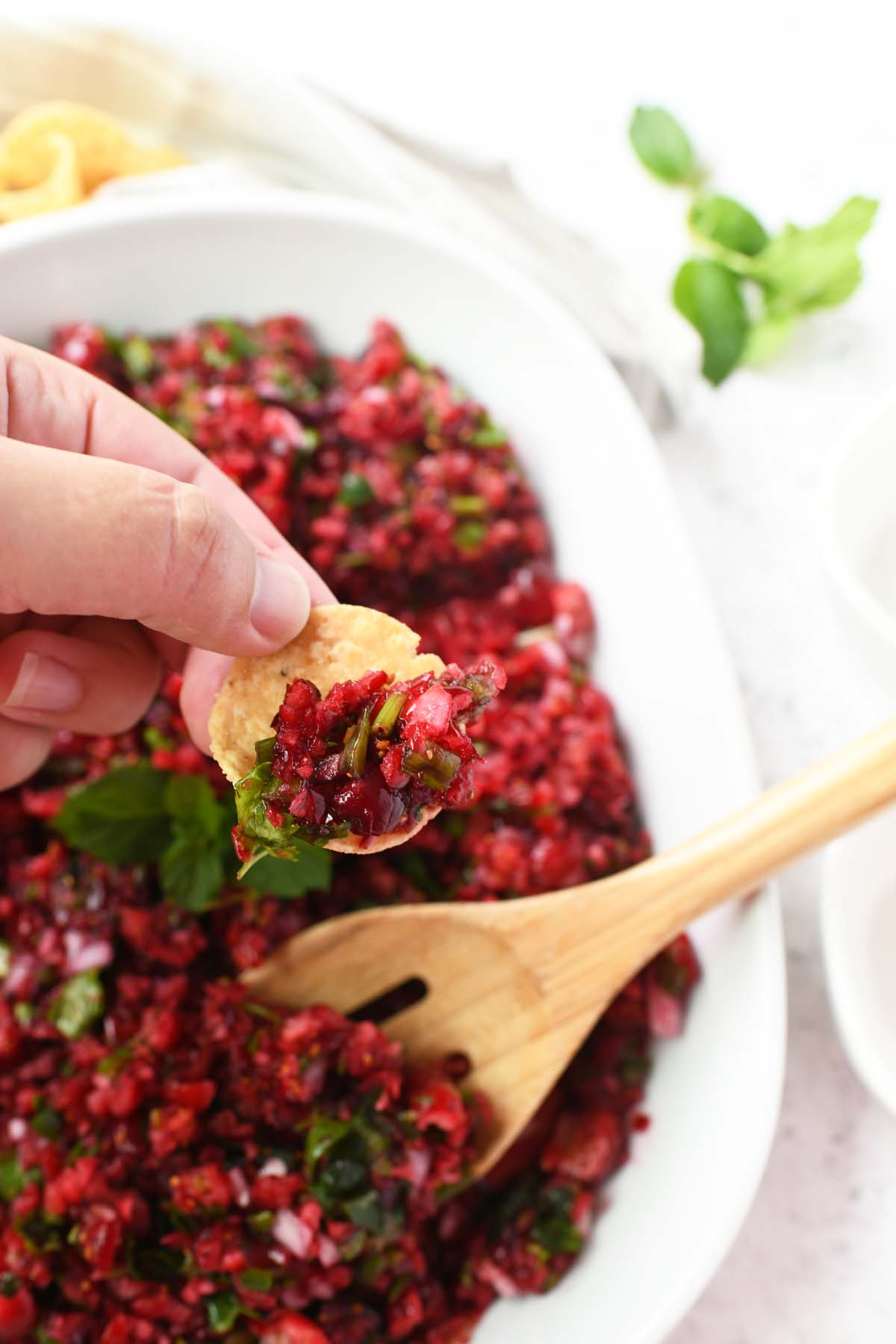A hand dipping a chip in cranberry salsa.