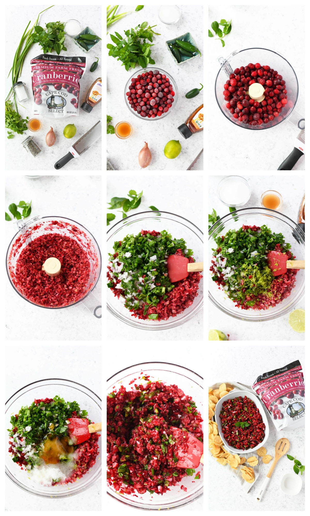 A nine image collage showing the process of making cranberry salsa.