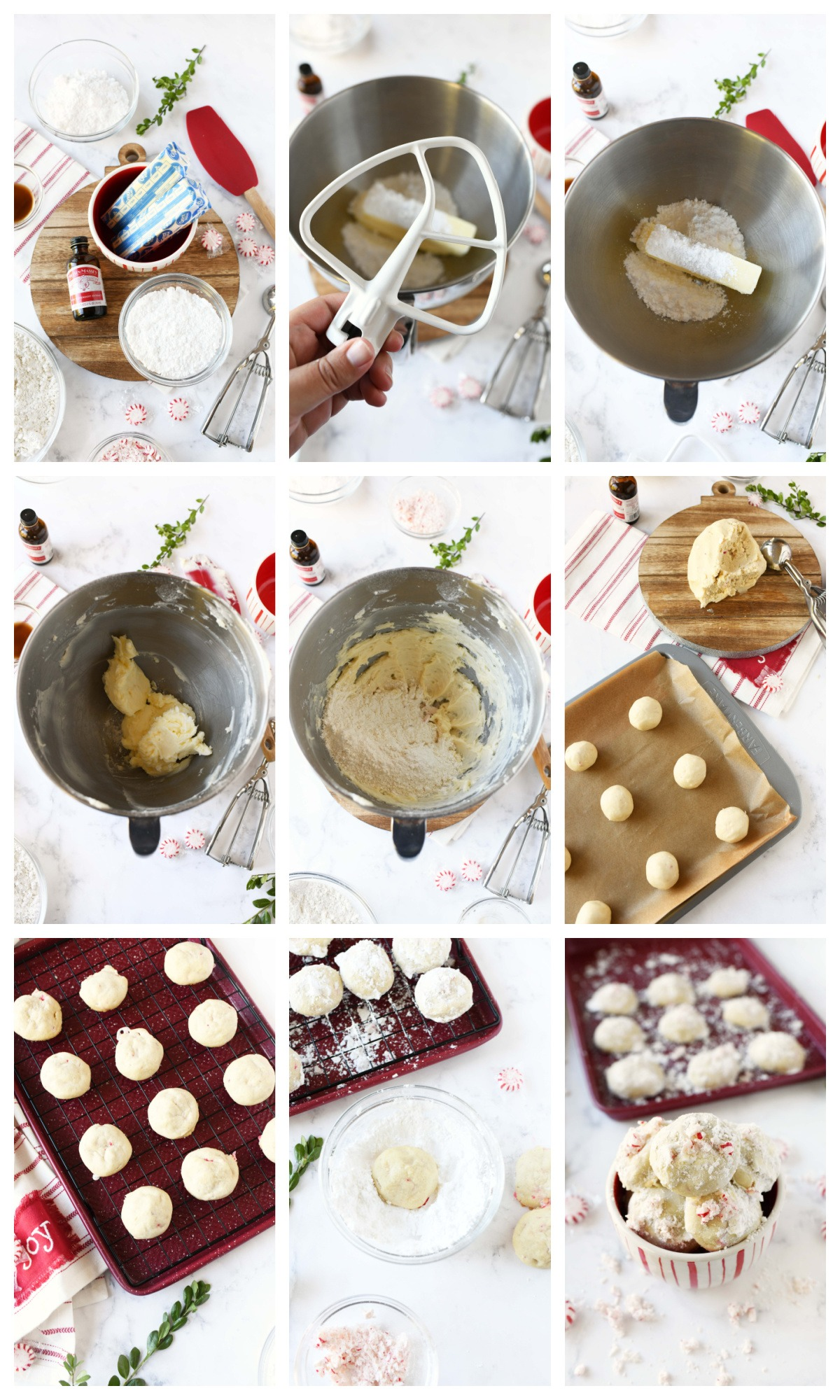 A nine image collage of how to make peppermint snowball cookies.